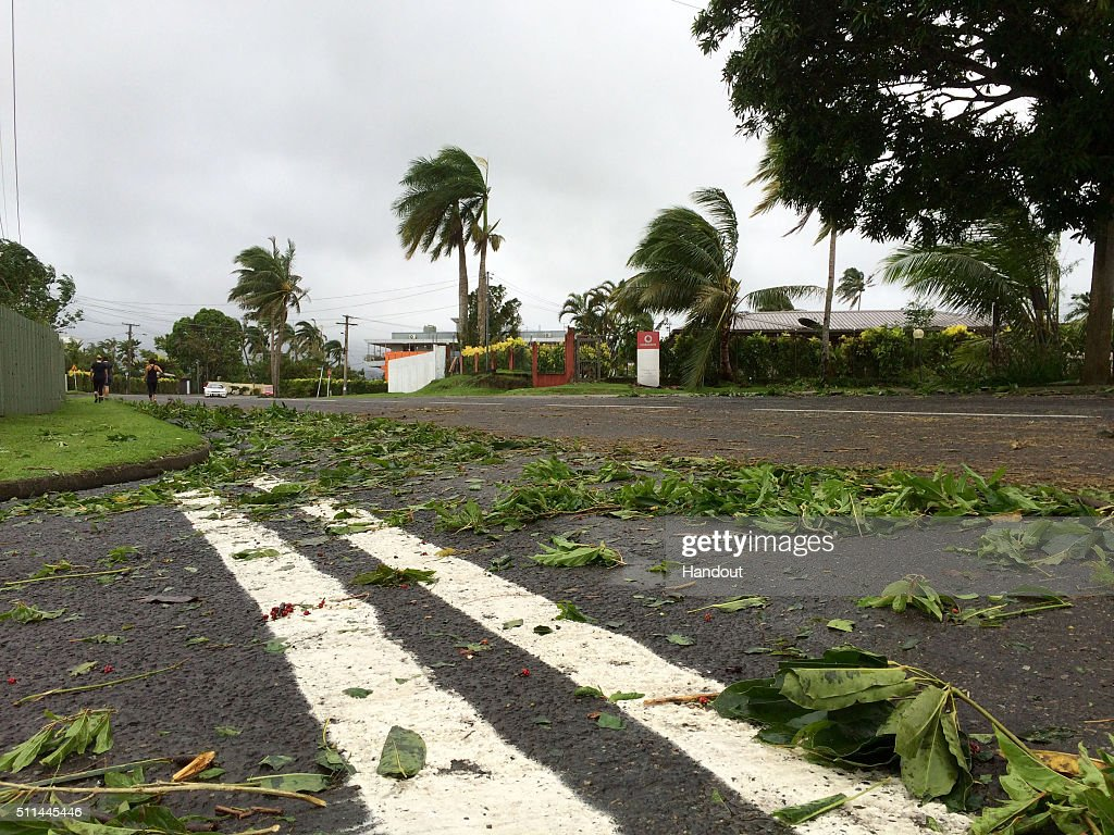 In this handout image supplied by the UNICEF debris left by Tropical Cyclone Winston is seen on February 21 2016 in Tamavua Suva Fiji Category 5...