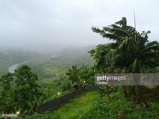 In this handout image supplied by the UNICEF tree's blow in the heavy wind ahead of cyclone Winston's landfall on February 20 2016 in Suva Fiji One...