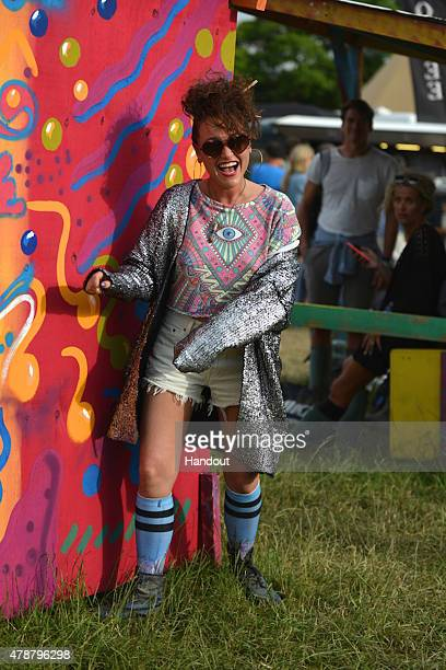 In this handout image supplied by Wildfox Jaime Winstone attends wearing Wildfox at the Glastonbury Festival at Worthy Farm Pilton on June 27 2015 in...