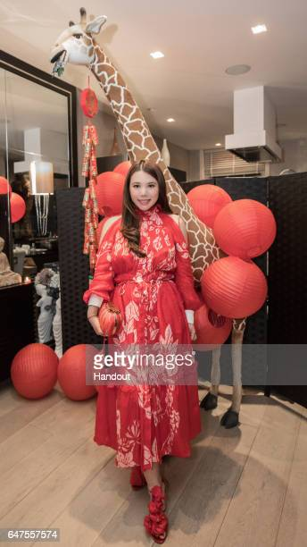 In this handout image supplied by Zhang Jie Wendy Yu poses as she attends a Chinese New Year Hot Pot hosted by Wendy Yu on January 31 2017 in London...