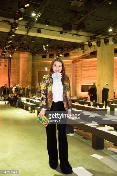 In this handout image supplied by Zhang Jie Wendy Yu poses at Mary Katrantzou show on day 3 of the London Fashion Week February 2017 collections on...