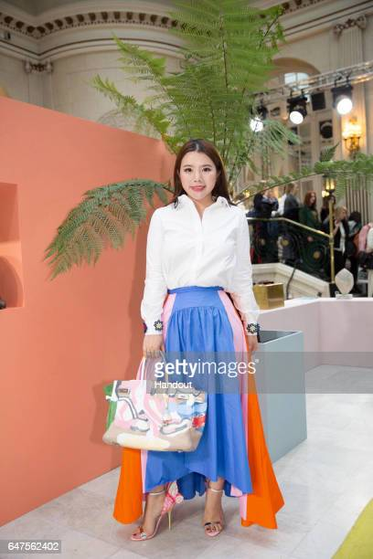 In this handout image supplied by Zhang Jie Wendy Yu poses at Peter Pilotto show on day 3 of the London Fashion Week February 2017 collections on...