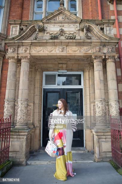 In this handout image supplied by Zhang Jie Wendy Yu poses on day 4 of the London Fashion Week February 2017 collections on February 20 2017 in...