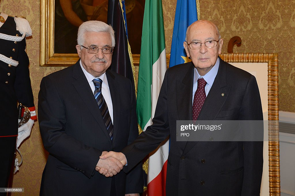 In this handout image supplied the office of the Palestinian President, President <a gi-track='captionPersonalityLinkClicked' href=/galleries/search?phrase=Mahmoud+Abbas&family=editorial&specificpeople=176534 ng-click='$event.stopPropagation()'>Mahmoud Abbas</a> meets with Italian President <a gi-track='captionPersonalityLinkClicked' href=/galleries/search?phrase=Giorgio+Napolitano&family=editorial&specificpeople=568986 ng-click='$event.stopPropagation()'>Giorgio Napolitano</a> (R) on December 18, 2012 in Rome, Italy. Abbas was quoted saying he was 'very worried' by the killing of Palestinians in the Yarmouk refugee camp near Damascus, Syria.