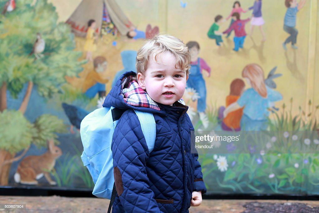 In this handout image taken by his mother, the Duchess of Cambridge, Prince George attends his first day at the Westacre Montessori nursery school near Sandringham in Norfolk on January 6, 2016 in King's Lynn, England. (Photo by Duchess of Cambridge/PA Wire via Getty Images) NEWS EDITORIAL USE ONLY. NO COMMERCIAL USE (including any use in merchandising, advertising or any other non-editorial use including, for example, calendars, books and supplements) All other requests for use should be directed to the Press Office at Kensington Palace in writing.