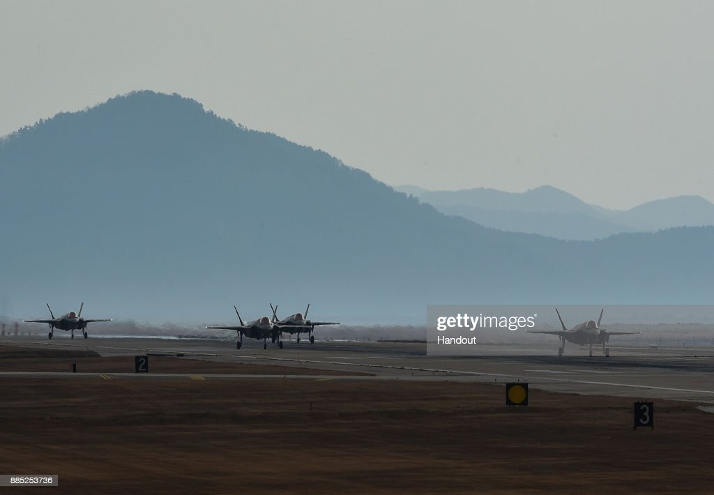 In this handout image taken on December 3 by U.S. Air Force and released on December 4, U.S. Air Force F-35A Lightning II fighter jets taxiing at Kunsan Air Base on December 3, 2017 in Kunsan, South Korea. South Korea and the United States will launch a large-scale military aircraft and military personnel annual joint exercise, which was scheduled before the North's latest missile test. North Korea fired a new intercontinental ballistic missile (ICBM) on November 29, believed to have shown capability to reach to the U.S. mainland.