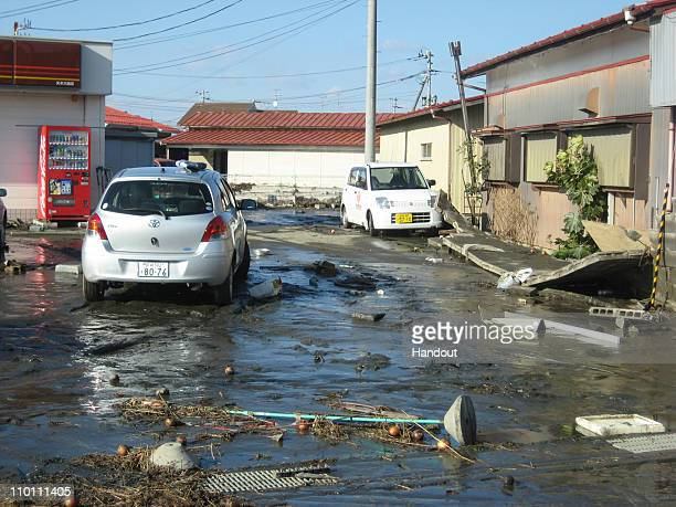 In this handout images provided by the International Federation of Red Cross Japan the streets of Ishinomaki city are seen after an 90 magnitude...