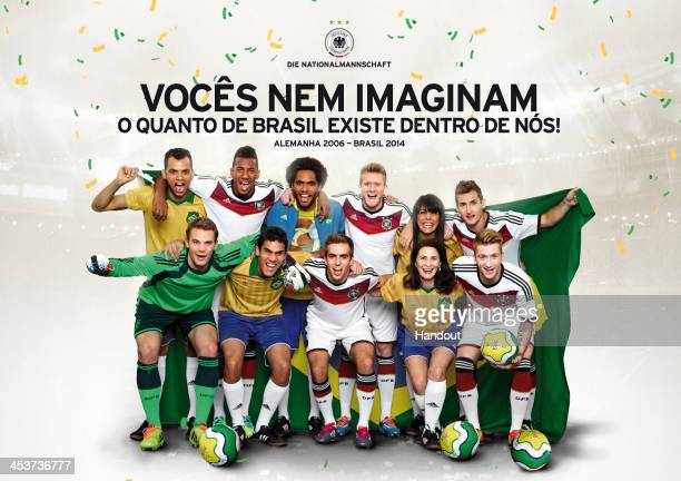 In this handout of an advert provided on December 5 2013 by DFB Jerome Boateng Andre Schuerrle Miroslav Klose Manuel Neuer Philipp Lahm and Marco...