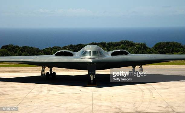 In this handout photo A B2 Spirit Stealth Bomber from the 393rd Expeditionary Bomb Squadron Whiteman Air Force Base MO sits on the flightline...