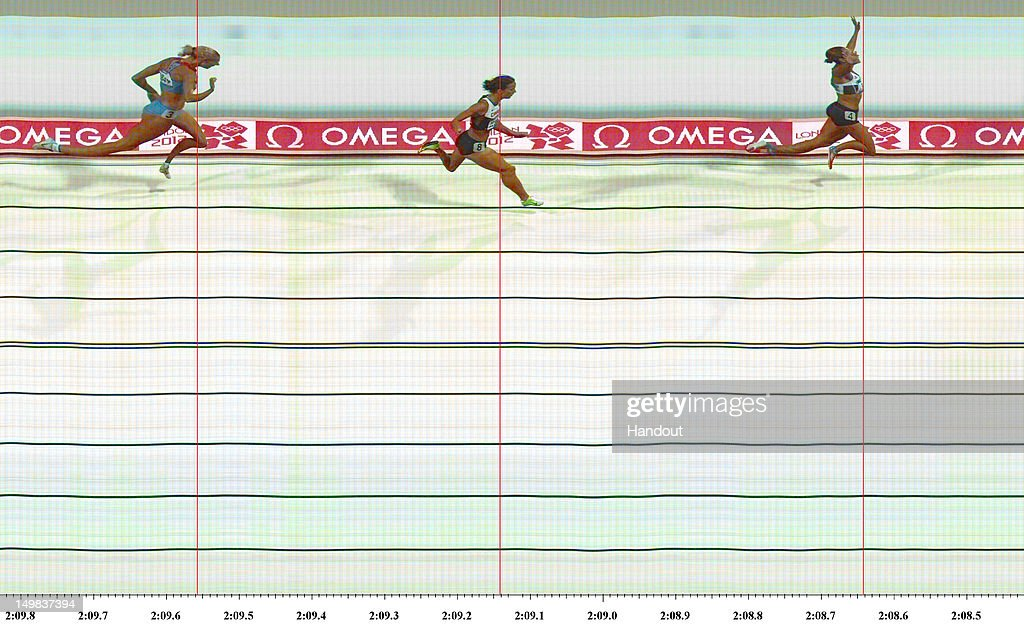 In this handout photo finish image supplied by Omega, Jessica Ennis of Great Britain crosses the line during the Women's Heptathlon 800m to win overall gold on Day 8 of the London 2012 Olympic Games at Olympic Stadium on August 4, 2012 in London, England.