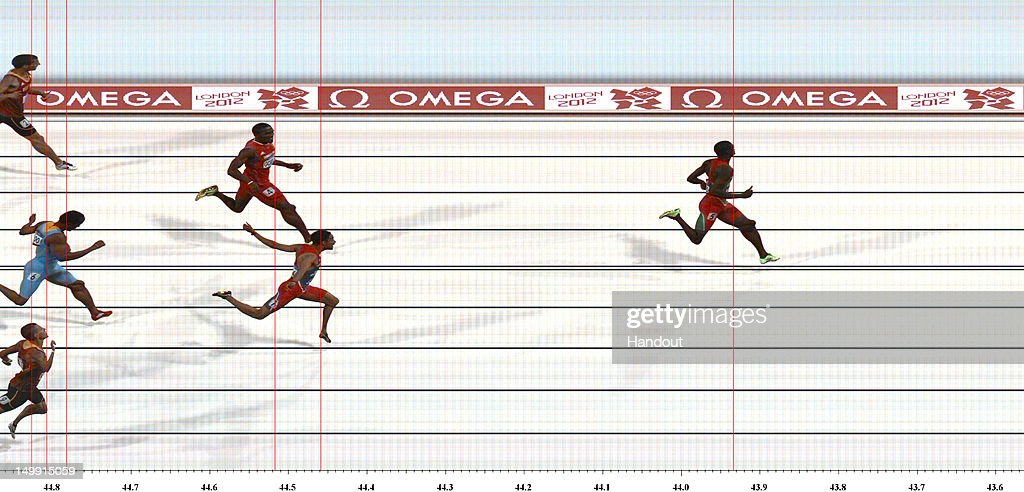 In this handout photo finish image supplied by Omega, <a gi-track='captionPersonalityLinkClicked' href=/galleries/search?phrase=Kirani+James&family=editorial&specificpeople=5432961 ng-click='$event.stopPropagation()'>Kirani James</a> of Grenada crosses the finish line to win the gold medal in the Men's 400m Final on Day 10 of the London 2012 Olympic Games at the Olympic Stadium on August 6, 2012 in London, England.