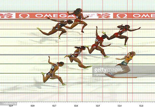 In this handout photo finish image supplied by Omega Sally Pearson of Australia wins the Women's 100m Hurdles Final on Day 11 of the London 2012...