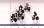 In this handout photo finish image supplied by Omega Sir Chris Hoy of Great Britain wins the Gold medal in the Men's Keirin Track Cycling Final on...