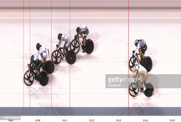 In this handout photo finish image supplied by Omega Victoria Pendleton of Great Britain wins gold in the Women's Keirin Track Cycling final on Day 7...