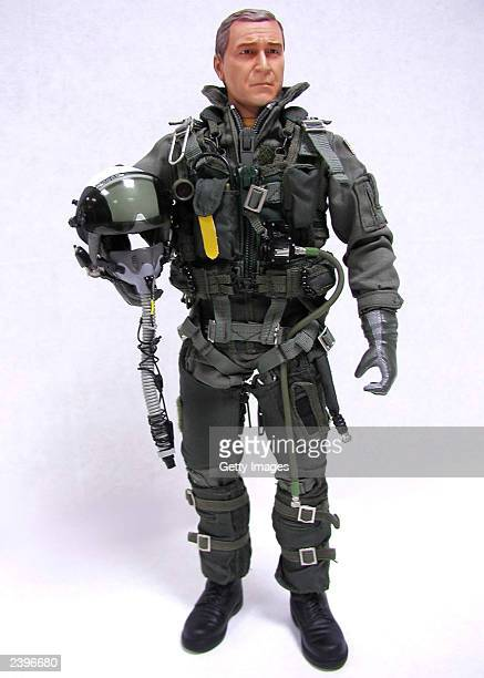 In this handout photo from Blue Box Toys the new Elite Force Aviator Action Figure of US President George W Bush is shown Bush is wearing the naval...