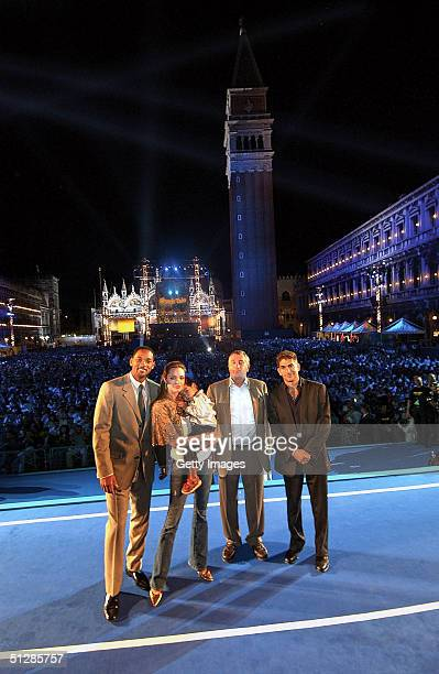 In this handout photo from Dreamworks actors Will Smith Angelina Jolie with son Maddux Robert De Niro and Michael Imperioli attend the premiere of...