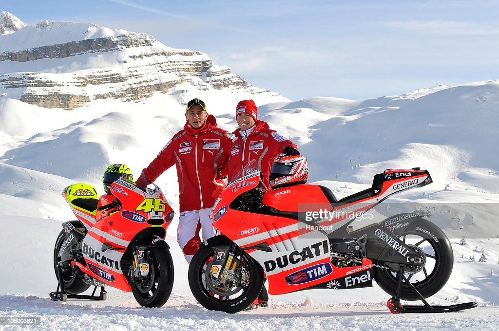 In this handout photo from Ducati, <a gi-track='captionPersonalityLinkClicked' href=/galleries/search?phrase=Nicky+Hayden&family=editorial&specificpeople=227346 ng-click='$event.stopPropagation()'>Nicky Hayden</a> of the USA (R) and <a gi-track='captionPersonalityLinkClicked' href=/galleries/search?phrase=Valentino+Rossi&family=editorial&specificpeople=157603 ng-click='$event.stopPropagation()'>Valentino Rossi</a> of Italy and Ducati poses for a photo during the 2011 Wroom F1 and Moto GP Press Ski Meeting on January 12, 2011 in Madonna di Campiglio, Italy.