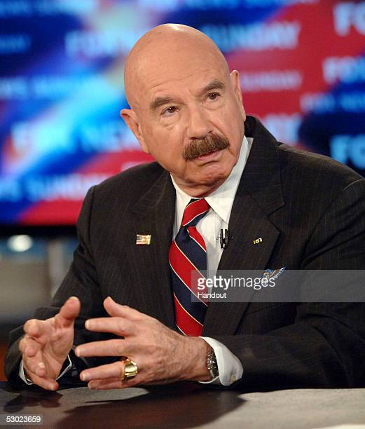 In this handout photo from FOX News G Gordon Liddy speaks about Watergate on FOX NEWS SUNDAY with Chris Wallace at the FOX News Studios June 5 2005...