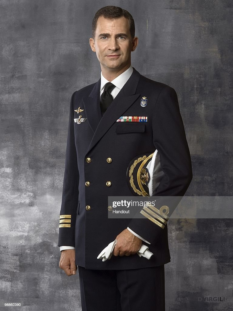 In this handout photo from the Spanish Royal Household, Prince Felipe of Spain poses dressed in Frigate Capitain uniform during an official portrait session at Zarzuela Palace on May 5, 2010 in Madrid, Spain.