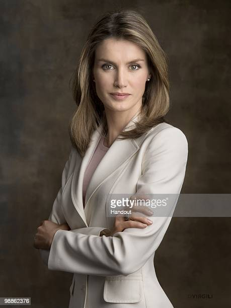 In this handout photo from the Spanish Royal Household Princess Letizia of Spain poses for an official portrait session at Zarzuela Palace on May 5...