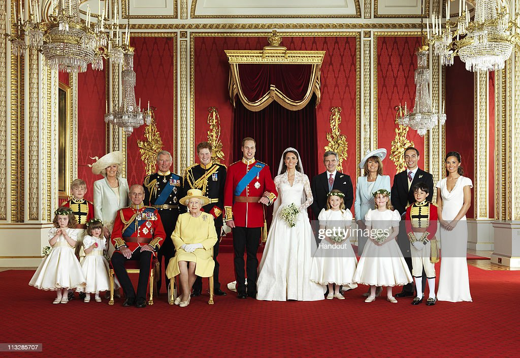 In this handout photo, issued by St James's Palace, the bride and groom Prince William, Duke of Cambridge and <a gi-track='captionPersonalityLinkClicked' href=/galleries/search?phrase=Catherine+-+Herzogin+von+Cambridge&family=editorial&specificpeople=542588 ng-click='$event.stopPropagation()'>Catherine</a>, Duchess of Cambridge pose for an official photo with (left to right): Miss <a gi-track='captionPersonalityLinkClicked' href=/galleries/search?phrase=Grace+van+Cutsem&family=editorial&specificpeople=7522896 ng-click='$event.stopPropagation()'>Grace van Cutsem</a>, Miss <a gi-track='captionPersonalityLinkClicked' href=/galleries/search?phrase=Eliza+Lopes&family=editorial&specificpeople=4980351 ng-click='$event.stopPropagation()'>Eliza Lopes</a>, HRH The Duke of Edinburgh, HM The Queen, The Hon. <a gi-track='captionPersonalityLinkClicked' href=/galleries/search?phrase=Margarita+Armstrong-Jones&family=editorial&specificpeople=218192 ng-click='$event.stopPropagation()'>Margarita Armstrong-Jones</a>, <a gi-track='captionPersonalityLinkClicked' href=/galleries/search?phrase=Lady+Louise+Windsor&family=editorial&specificpeople=159482 ng-click='$event.stopPropagation()'>Lady Louise Windsor</a>, <a gi-track='captionPersonalityLinkClicked' href=/galleries/search?phrase=Master+William+Lowther-Pinkerton&family=editorial&specificpeople=7727319 ng-click='$event.stopPropagation()'>Master William Lowther-Pinkerton</a>. Back Row (left to right): Master <a gi-track='captionPersonalityLinkClicked' href=/galleries/search?phrase=Tom+Pettifer&family=editorial&specificpeople=7724798 ng-click='$event.stopPropagation()'>Tom Pettifer</a>, HRH Camilla, Duchess of Cornwall, Prince Charles, Prince of Wales, HRH Prince Harry of Wales, Mr Michael Middleton, Mrs <a gi-track='captionPersonalityLinkClicked' href=/galleries/search?phrase=Carole+Middleton&family=editorial&specificpeople=4079988 ng-click='$event.stopPropagation()'>Carole Middleton</a>, Mr James Middleton, Miss Philippa Middleton, in the throne room at Buckingham Palace on April 29, 2011in London, England. The marriage of Prince William and <a gi-track='captionPersonalityLinkClicked' href=/galleries/search?phrase=Catherine+-+Herzogin+von+Cambridge&family=editorial&specificpeople=542588 ng-click='$event.stopPropagation()'>Catherine</a> Middleton was led by the Archbishop of Canterbury and was attended by 1900 guests, including foreign Royal family members and heads of state. Thousands of well-wishers from around the world have also flocked to London to witness the spectacle and pageantry of the Royal Wedding.