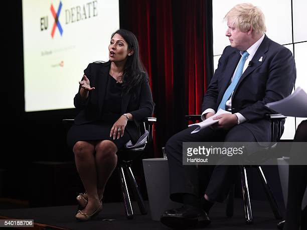 In this handout photo issued by the Daily Telegraph Priti Patel and Boris Johnson take part in a Huffington Post/Daily Telegraph EU debate on June 14...