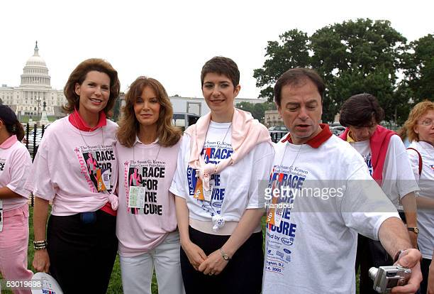 In this handout photo Nancy Brinker Komen Foundation founder Actress Jaclyn Smith a breast cancer survivor and Honorary Survivor Chair Klara Dobrev...