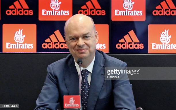 In this handout photo provided by AC Milan New AC Milan CEO Marco Fassone attends a press conferece to unveil AC Milan new owners on April 14 2017 in...