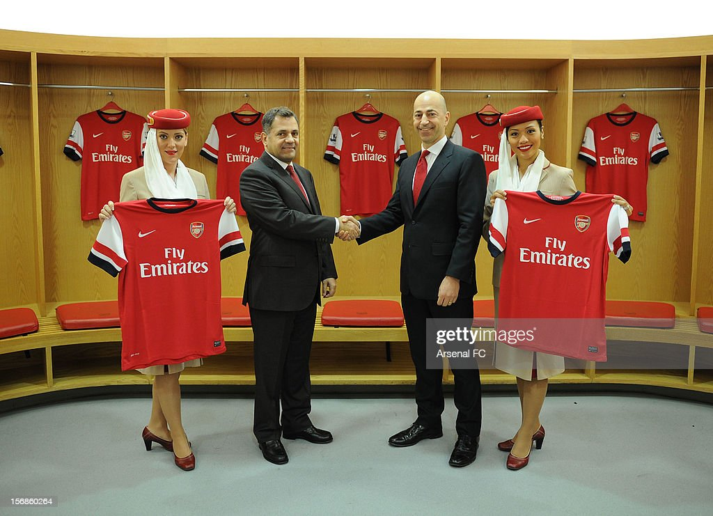 In this handout photo provided by Arsenal FC Arsenal Football Club. (L-R) Divisional Senior Vice President - Corporate Communications of Emirates Airlines Boutros Boutros and Arsenal CEO Ivan Gazidis announce new commercial partnership with Emirates Airlines at Emirates Stadium on November 23, 2012 in London, England.