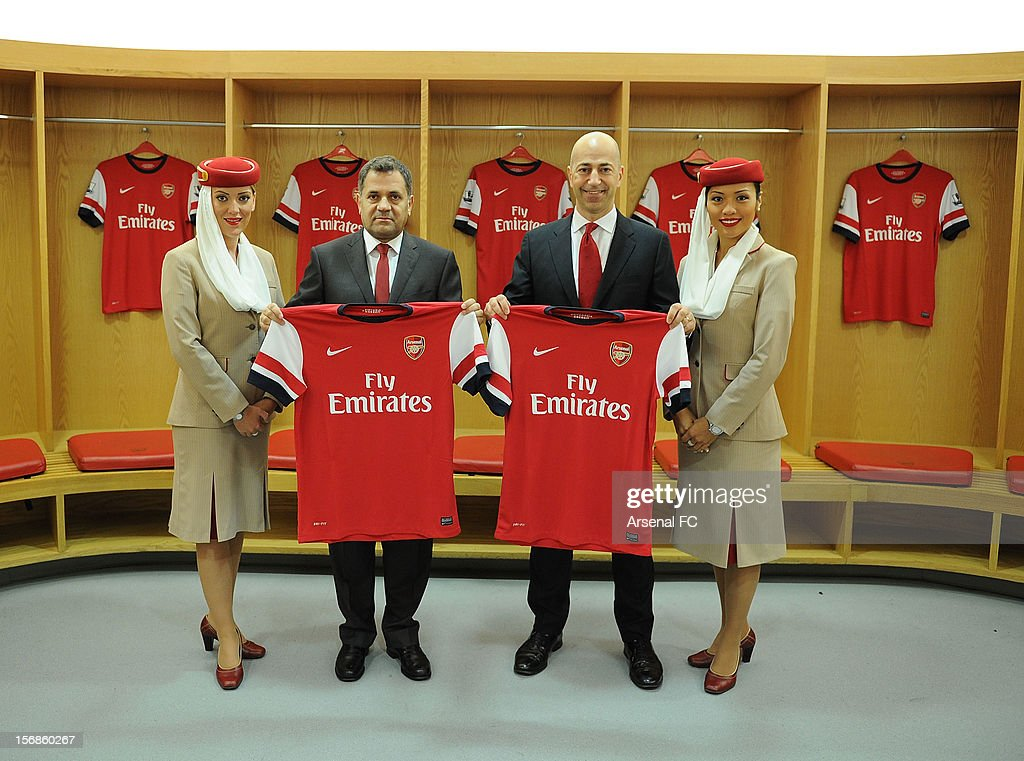 In this handout photo provided by Arsenal FC Arsenal Football Club. (L-R) Divisional Senior Vice President - Corporate Communications of Emirates Airlines Boutros Boutros and Arsenal CEO Ivan Gazidis announce new commercial partnership with Emirates Airlines at Emirates Stadium on November 23, 2012 in London, England. (Photo by Stuart MacFarlane/Arsenal FC via Getty Images