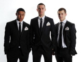 In this handout photo provided by Arsenal FC LR Alex OxladeChamberlain Thomas Vermaelen and Jack Wilshere before the Arsenal Charity Ball at Emirates...