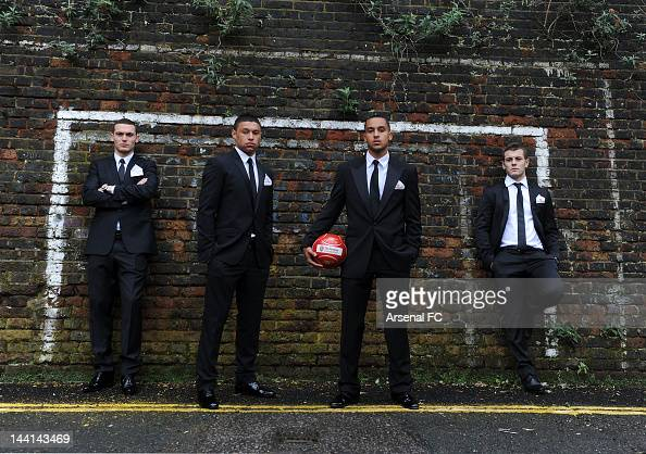 In this handout photo provided by Arsenal FC Thomas Vermaelen Alex OxladeChamberlain Theo Walcott and Jack Wilshere before the Arsenal Charity Ball...