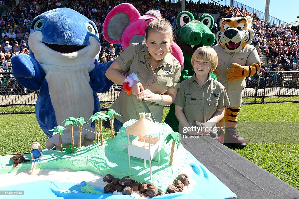 In this handout photo provided by Australia Zoo, Bindi Irwin celebrates her 15th birthday with her brother Robert Irwin, on July 24, 2013 in Beerwah, Australia.
