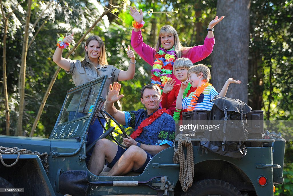 In this handout photo provided by Australia Zoo, Bindi Irwin celebrates her 15th birthday with Wes Mannion, Riley Mannion, her mother Terri Irwin and brother Robert Irwin, on July 24, 2013 in Beerwah, Australia.