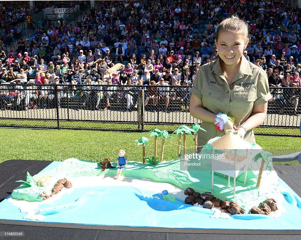 In this handout photo provided by Australia Zoo, Bindi Irwin celebrates her 15th birthday on July 24, 2013 in Beerwah, Australia.
