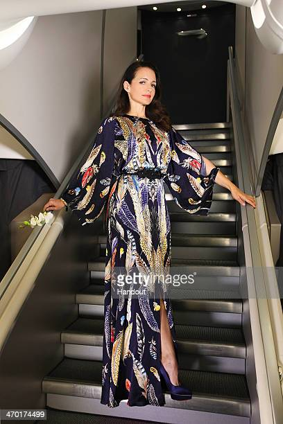 In this handout photo provided by British Airways Sex and the City star Kristin Davis dressed in a Temperley London long Feather print dress poses on...