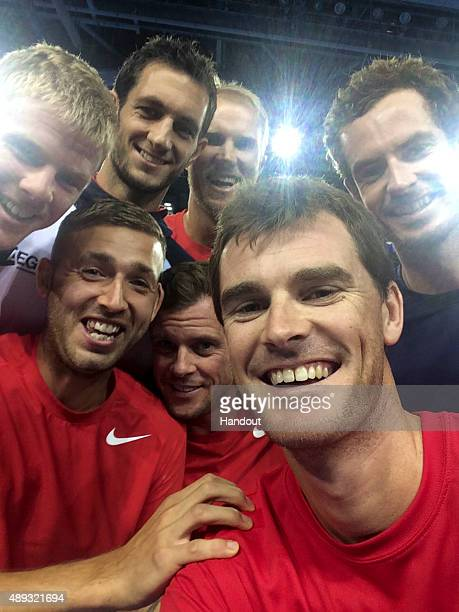 In this handout photo provided by British Tennis the Aegon GB Davis Cup Team of Jamie Murray Andy Murray Dan Evans Kyle Edmund James Ward Dom Inglot...