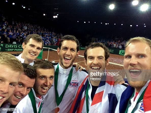 In this handout photo provided by British Tennis the Aegon GB Davis Cup Team of Andy Murray Jamie Murray Dan Evans Kyle Edmund James Ward Dom Inglot...