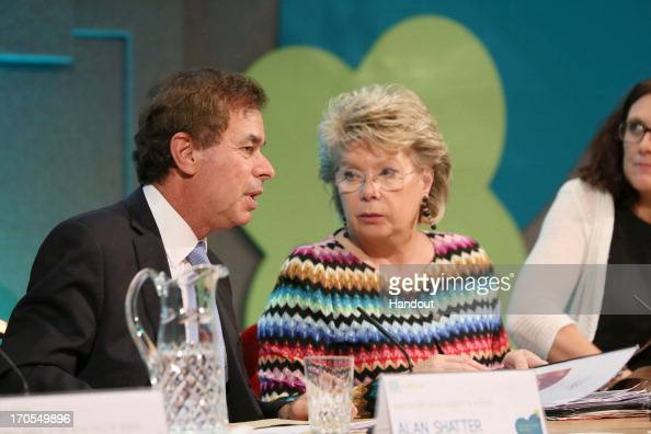 In this handout photo provided by Department of The Taoiseach Alan Shatter Minister for Justice Equality and Defence and Viviane Reding European...