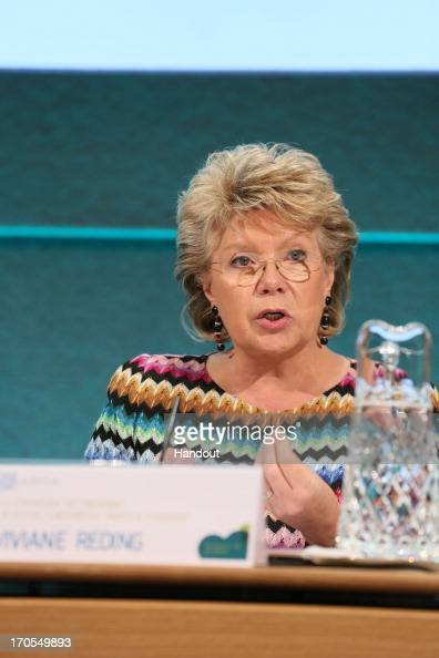 In this handout photo provided by Department of The Taoiseach Viviane Reding European Commissioner for Justice Fundamental Rights and Citizenship at...