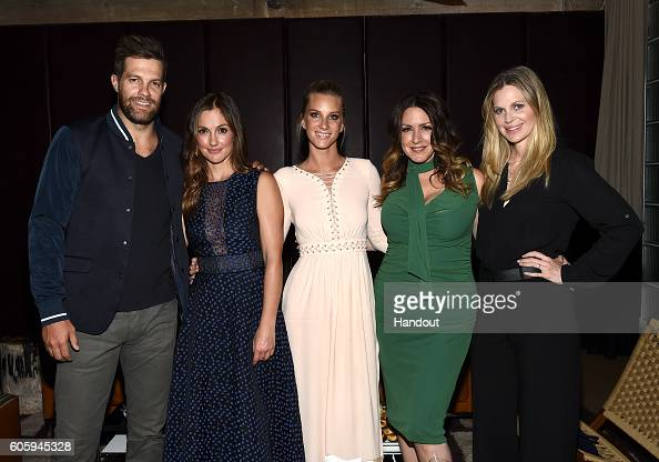 In this handout photo provided by Discovery Actors Geoff Stults Minka Kelly Heather Morris Joely Fisher and Kristin Bauer van Straten attend the...
