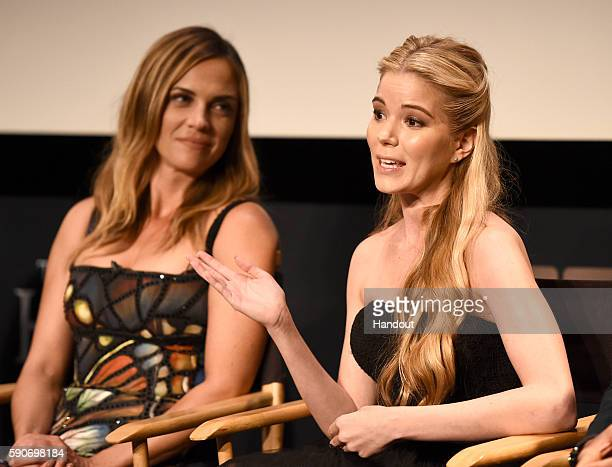 In this handout photo provided by Discovery Actresses Kelly Sullivan and Brooke Anne Smith speak onstage at TLC 'Too Close To Home' Screening at The...