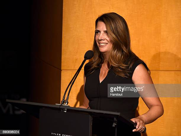 In this handout photo provided by Discovery President GM TLC Nancy Daniels speaks onstage at TLC 'Too Close To Home' Screening at The Paley Center...