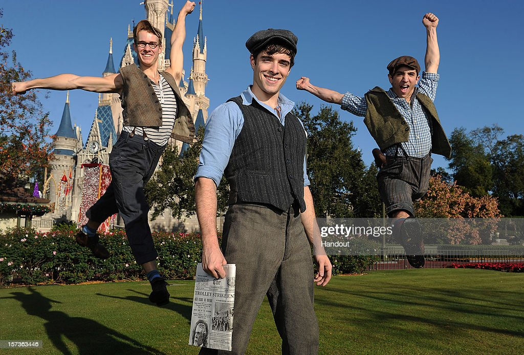 In this handout photo provided by Disney, Corey Cott (C) poses with cast members from Disney's Tony Award-winning musical 'Newsies' during a break in taping the 'Disney Parks Christmas Day Parade' TV special in the Magic Kingdom park at Walt Disney World on December 1,2012 in Lake Buena Vista, Florida. Cott portrays lead character 'Jack Kelly' in the hit Broadway production. 'Newsies' is featured in the telecast in a performance segment on Main Street, USA. The annual telecast, which airs Dec. 25, 2012 at various times across the country on ABC-TV, features celebrity performances and segments taped at Walt Disney World in Florida and Disneyland Resort in California. Other featured performers include Lady Antebellum, Backstreet Boys, Brad Paisley, Phillip Phillips, Colbie Caillat, TobyMac, Yolanda Adams, Ross Lynch and a U.S. Marine Corps Band.