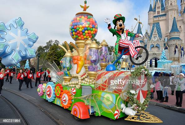 In this handout photo provided by Disney Parks a view of the parade during the taping of the Disney Parks 'Frozen Christmas Celebration' TV Special...