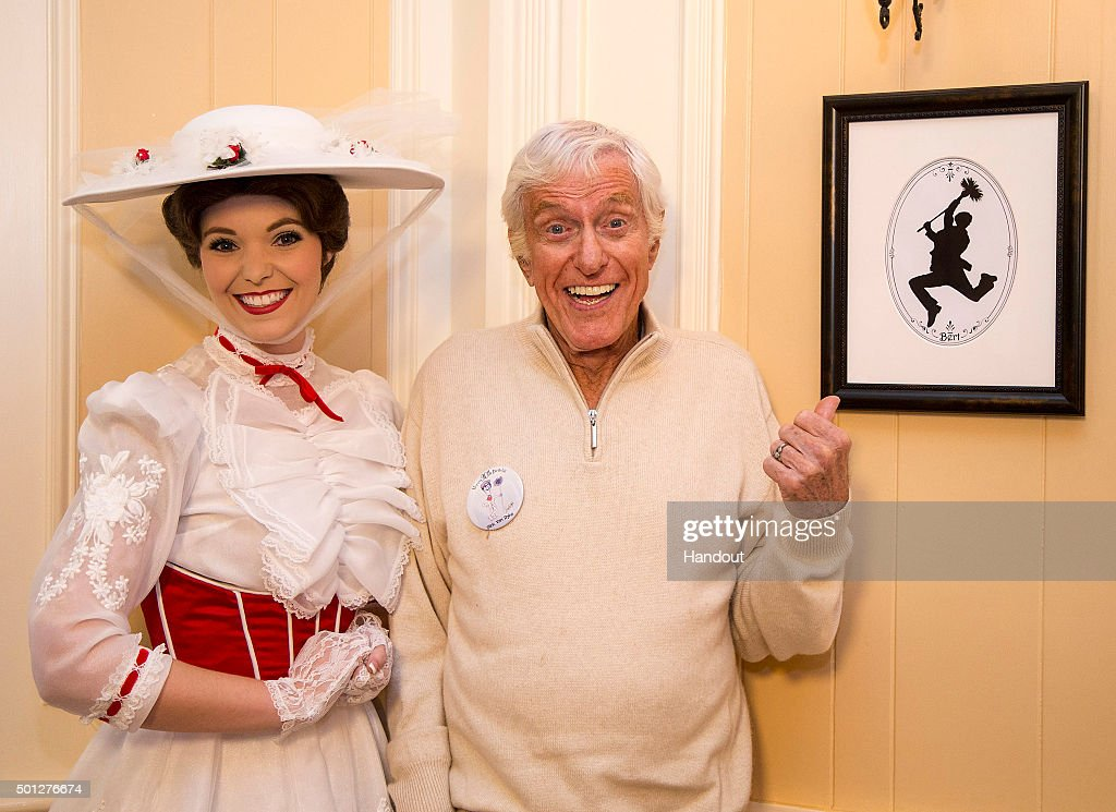 In this handout photo provided by Disney Parks, actor and Disney legend Dick Van Dyke and Mary Poppins celebrate his 90th birthday at Disneyland on December 13, 2015 in Anaheim, California.