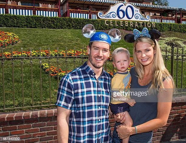 In this handout photo provided by Disney Parks actor MarkPaul Gosselaar Dekker Gosselaar and Catriona McGinn visit Disneyland on September 08 2015 in...