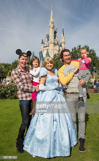 In this handout photo provided by Disney Parks actress Rebecca Romijn and actor Jerry O'Connell marked their twin daughters' birthdays at the Magic...