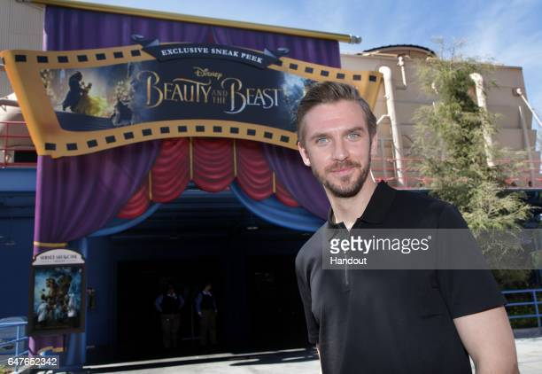 In this handout photo provided by Disney Parks 'Beauty and the Beast' star Dan Stevens visits the film's sneak peek experience at Disney California...