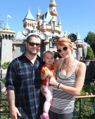 In this handout photo provided by Disney Parks 'Dancing With the Stars' competitor Jack Osbourne his wife Lisa Stelly and their daughter Pearl...